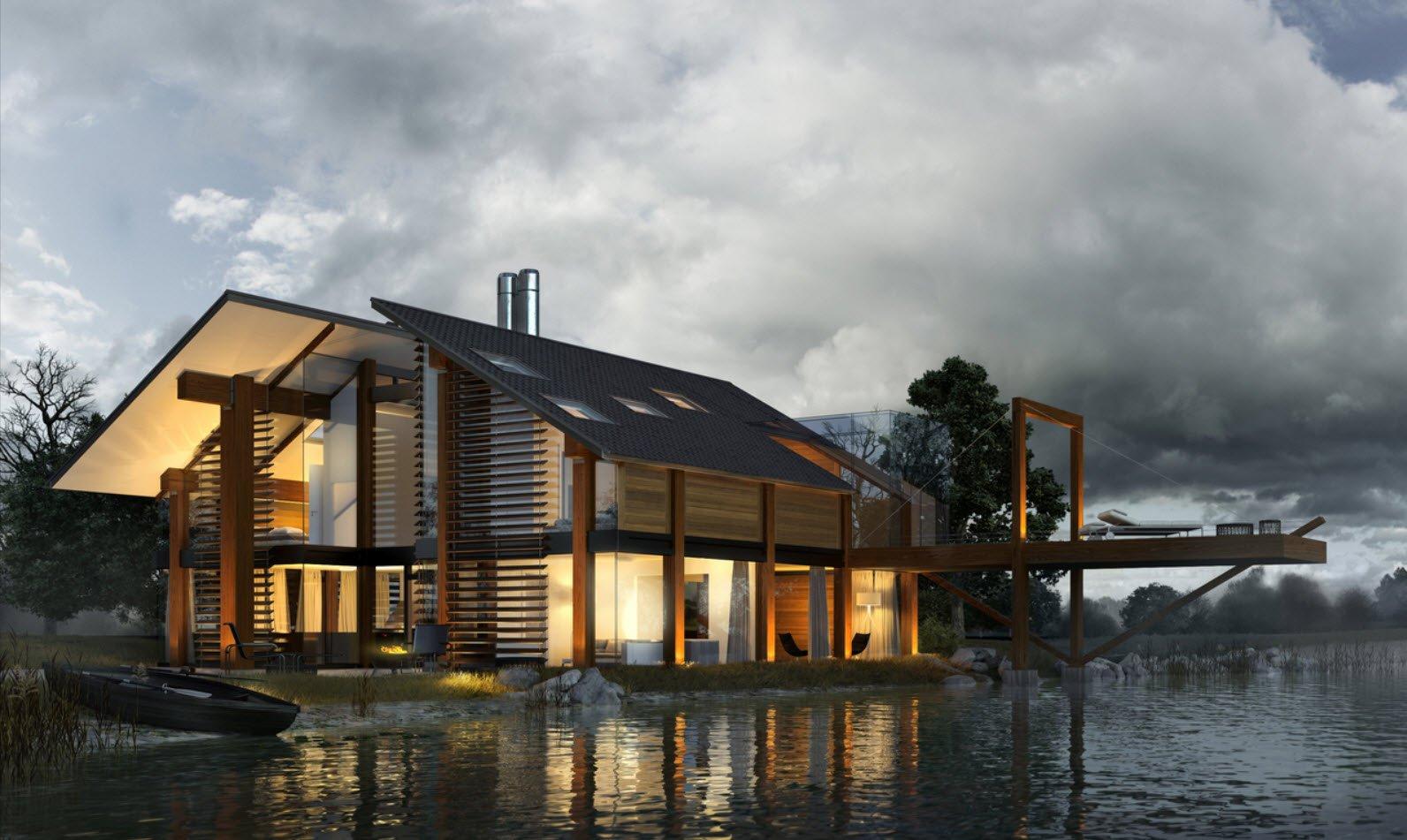 Hermosa fachada de la casa que tiene una terraza flotante que parece ser parte de un puente (Sowanna)