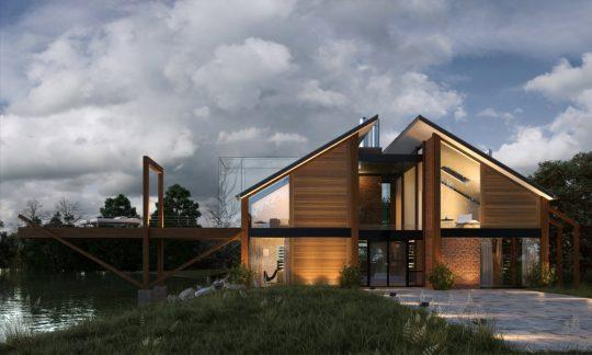 Fachada frontal de la casa, aquí vemos una pared con ladrillo caravista en el primer piso, además se aprecia la textura de la madera colocada en forma horizontal, dos grandes tubos cromados en la parte central sería la chimenea de la vivienda