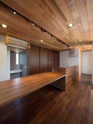 Tanto el techo como los muebles de la cocina son de madera del mismo tono de color, y a través de una abertura se ha colado luminarias dirigibles