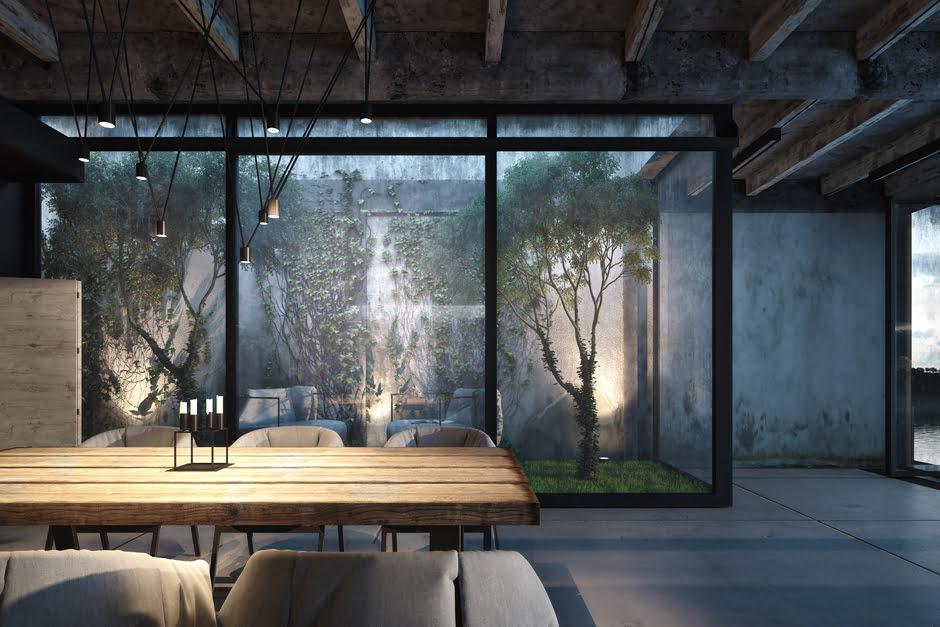 La iluminación artificial a través de lámparas focalizadas y luminarias complementan el diseño