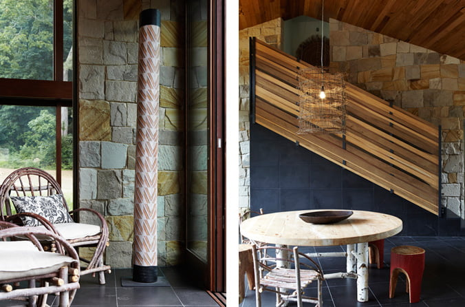 A la izquierda podemos ver un enchapado de piedra arenisca que se encuentra en la zona donde se ubica el eco lodge, a la derecha el diseño de la escalera que tiene un trabajo notable en el diseño de la balaustrada hecho con madera en forma de tejido