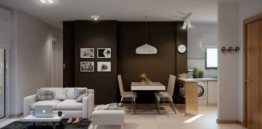 Juegos de sofás de dos cuerpos pequeños y minimizar la barra de la cocina (Buenavista Architectural Visualization)