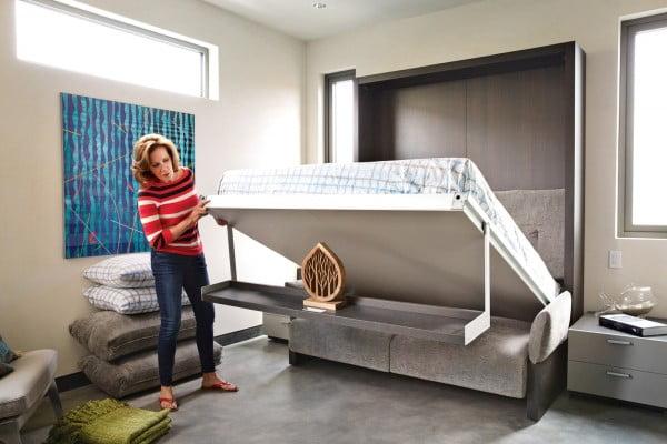 El mueble se transforma en una cómoda cama para los invitados