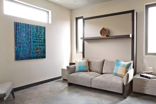 Diseño de mueble de una sala estar que puede convertirse en una cama