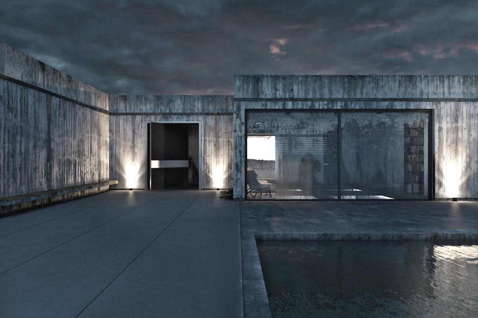 Exteriores de la casa, una gran puerta recibe a los visitantes mientras que una mampara de la sala comedor da vista a la piscina