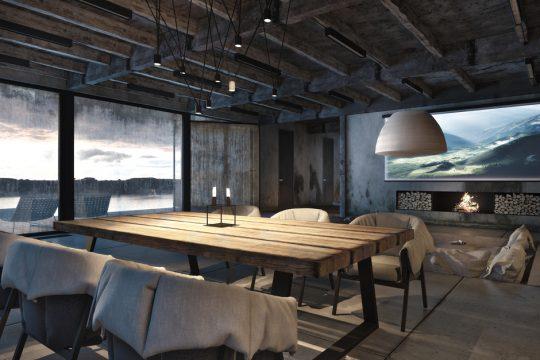 Diseño de la sala estilo industrial, a pesar de los elementos estructurales como el techo de vigas de fierro sin enlucir, el arquitecto ha logrado un acogedor diseño, se unen elementos rústicos como una gran mesa de madera y una moderna chimenea, hay contraste pero manteniendo el estilo