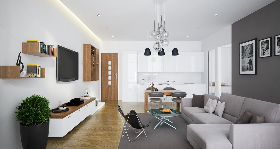 El uso de los colores como el blanco le otorgan brillo al interior del departamento, incluso puedes combinarlo con colores como el gris como vemos en la foto (Truong Tran)