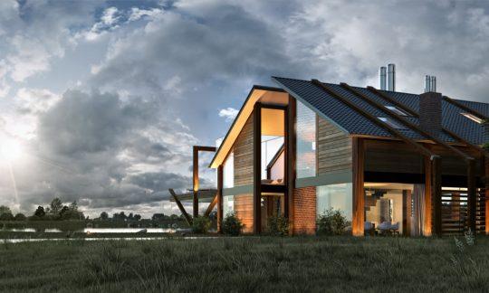 Los materiales de construcción como son la madera, el ladrillo y el cristal han sido colocados de forma armónica para lograr un hermoso diseño