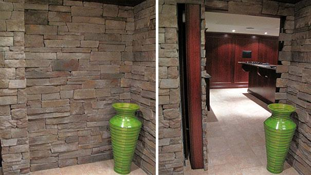 Si se trata de ocultar una habitación éste es uno de los mejores ejemplos, la pared parece inexpugnable pero la pared de roca es una puerta que lleva a una habitación escondida (Imagen: Hidden Passageway)