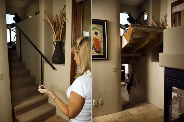 Nadie sospechara que debajo de esta cerrada escalera se encuentra un pasaje oculto para escapar de la casa en caso de peligro (Imagen: Daily Mail)