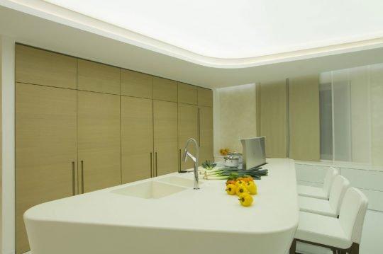 Los muebles de cocina permanecen cerrados en esta imagen, la isla de cocina sigue la misma linea de diseño curvo que los muebles de la sala