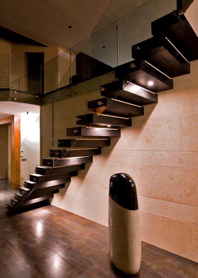 Peldanos De Madera Y Baranda De Cristal Diseno Moderno De Escaleras - Escaleras-de-cristal-y-madera