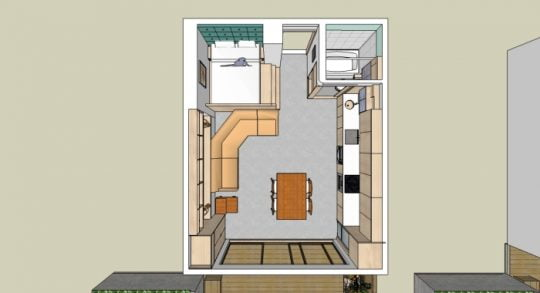 Plano del departamento en 3D muestra el resultado final