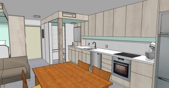 Plano 3D de departamento pequeño – zona servicios