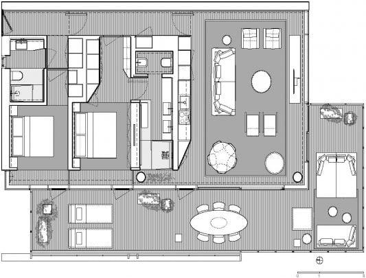 Plano de planta del departamento – Diseño y fotos: JM Architecture