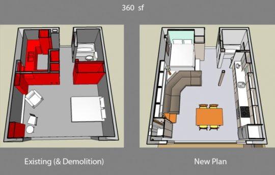 Imagen de la izquierda el departamento antes de la remodelación, a la derecha se aprecia la eliminación de algunos muros para integrar todos los espacios