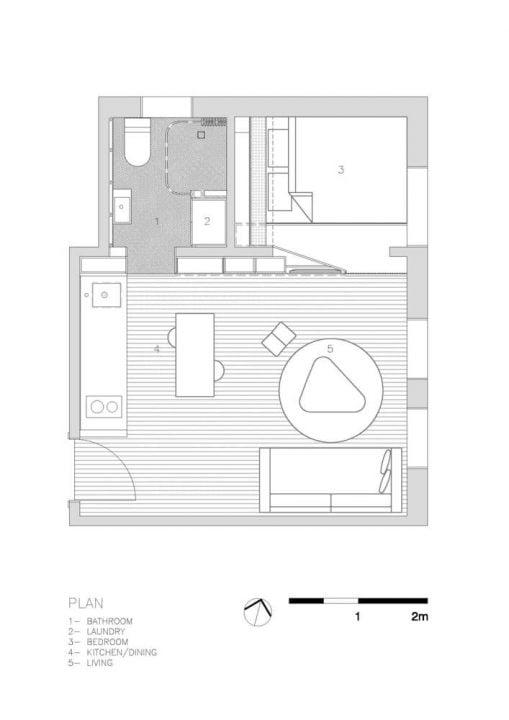 Plano del departamento / Diseño: Brat Swartz Architects