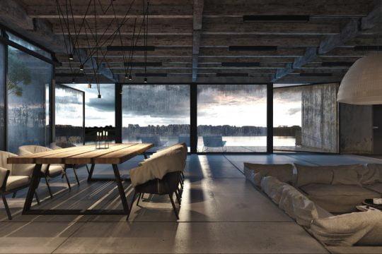 En esta foto podemos apreciar como los muebles se encuentran bajo el nivel cero del piso definiendo una zona mas privada dentro de la misma zona social