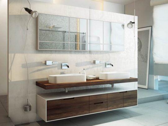 Este cuarto de baño utiliza colores y sanitarios clásicos pero el resultado final es un original diseño gracias a las formas de los elementos de decoración