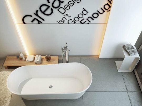 Retroiluminar falsas paredes y techos es parte de la decoración moderna en viviendas y apartamentos ,ahora, lo vemos bien aplicado a un cuarto de baño, súmale un gráfico para complementar el diseño