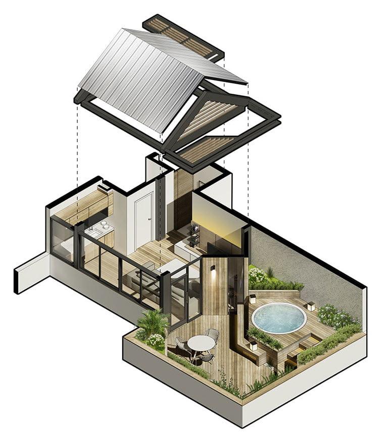 Plano 3D de distribución de espacios – ANA Arquitectura