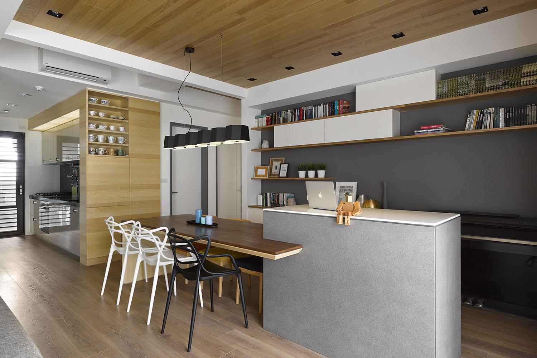 Diseño del comedor con barra integrada