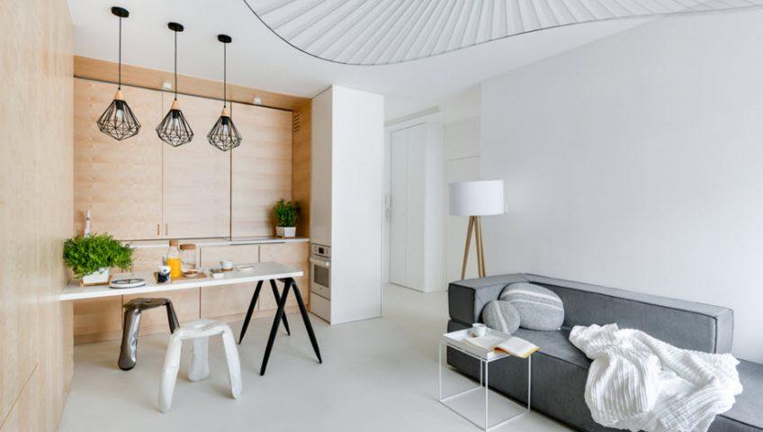 Vista de la sala comedor y kitchenette – Diseño: 3XA | fotos: Stanisław Zajaczkowski